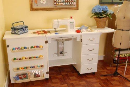 Mueble para m quina de coser marilyn blanco de arrow for Muebles de costura