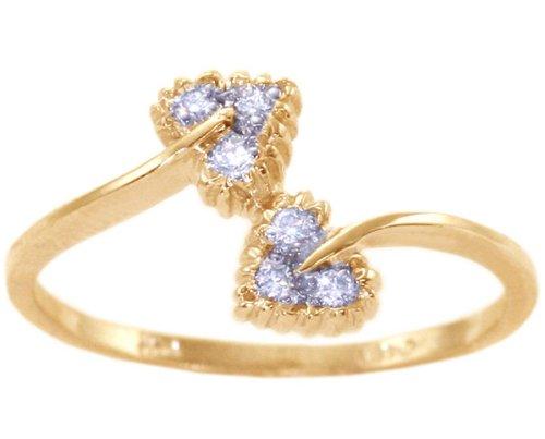 14K Yellow Gold Diamond Promise Ring-Diamond, size5