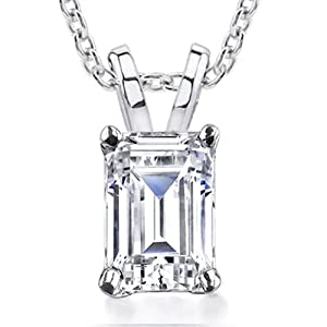 0.70 ct Emerald Cut Diamond Pendant / Necklace in 14 kt White Gold