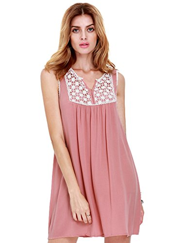 ROMWE Women's Cute Plain House Sleeveless Pleated Embroidered Dress Pink M