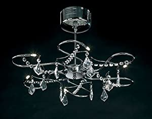 ENDON 214 6CH LIGHT CHANDELIER CHROME & CRYSTAL CEILING FITTING       review and more description