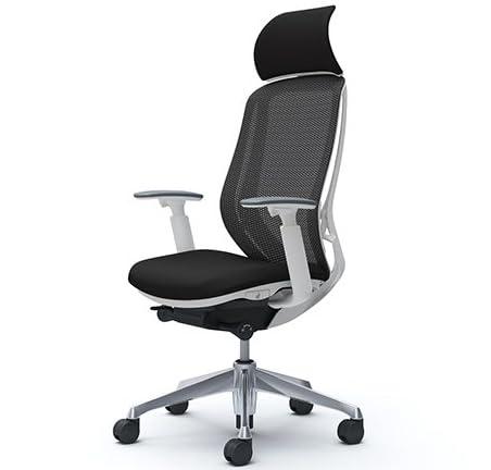 オカムラ オフィスチェア シルフィ― エキストラハイバック メッシュ アジャストアーム アルミ脚 ホワイトフレーム C68ABW-FMP1 ブラック
