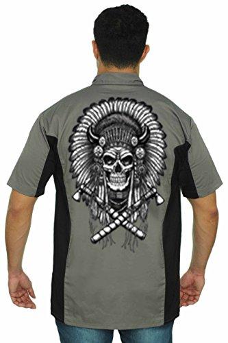 mens-mechanic-work-shirt-native-american-skull-grey-black-xl