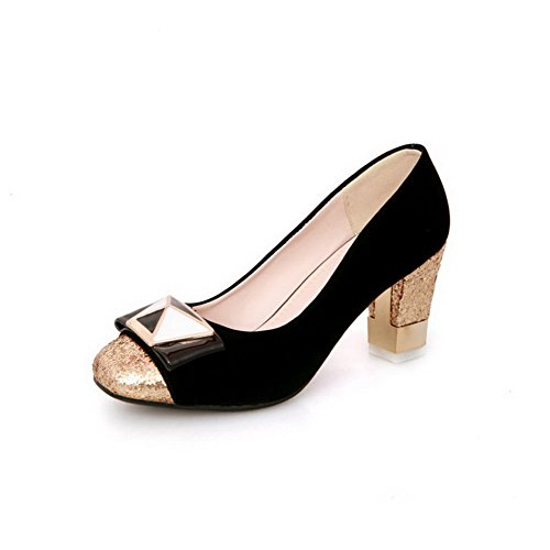 Vouge001 Womens Closed Round Toe Kitten Heel PU Frosted Solid Pumps with Metal