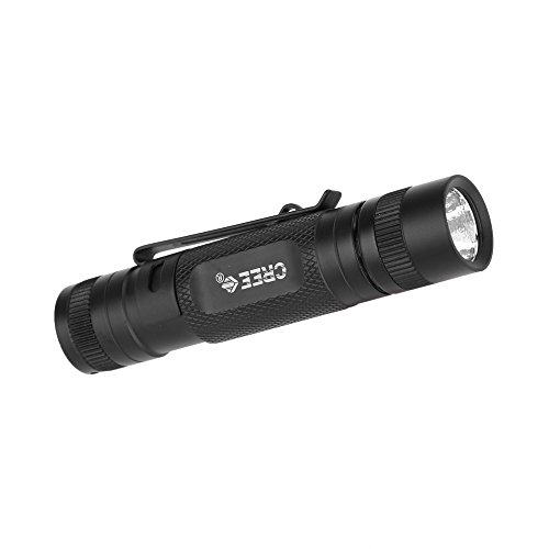 Kkmoon Mini Durable Water-Resistant Led Flashlight Cree Q5 Led 300Lm Torch Lamp 3 Modes White Light With Clip Bright Handy For Hiking,Camping,Hunting And Other Indoor/Outdoor Activities