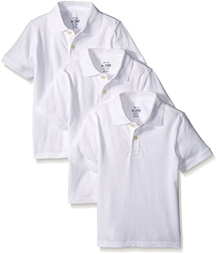 The Children's Place Big Boys' Short Sleeve Polo Shirt (Pack of 3), White, Large/10/12