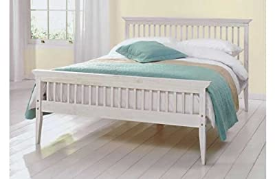 Kingsize Bed Wood Frame - 5ft Shaker White
