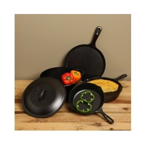 Best Cookware Set Cast Iron to Complete Your Kitchen Accessories Consisting of Everything You Need for Dining. This High Quality Kitchenware Set Consists of Skillets, a Griddle and a Dutch Oven All of Which Are Cast Iron. Great Cookware Accessories
