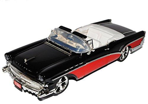 buick-roadmaster-cabrio-1957-schwarz-rot-custom-version-1-18-motormax-modell-auto