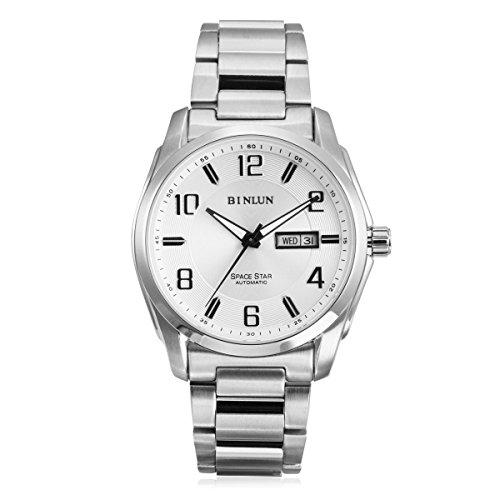 binlun Giacca Impermeabile meccanico orologio con GIORNO E date-silver