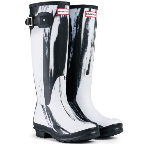 Womens Hunter Original Nightfall Festival Wellies Snow Rain Winter Boots - Black/White - 8