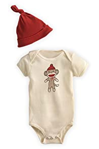 Green 3 Apparel Sock Monkey Dye-free Organic Baby Gift Set (6-12 months)