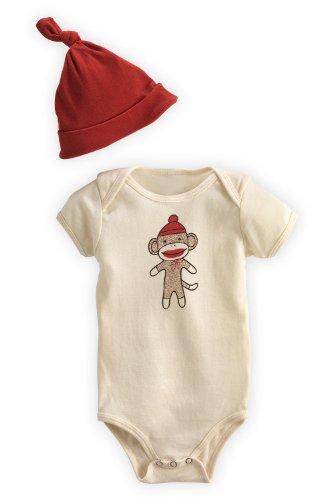 Green 3 Apparel Sock Monkey Usa Made Dye-Free Organic Baby Gift Set front-166855