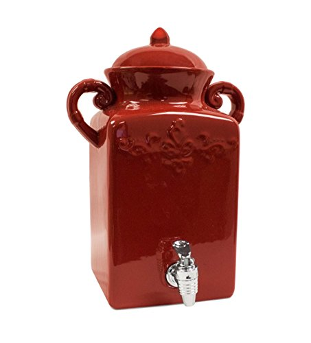American Atelier Square Tuscan Ceramic Beverage Dispenser Red (Ceramic Drink Dispenser compare prices)