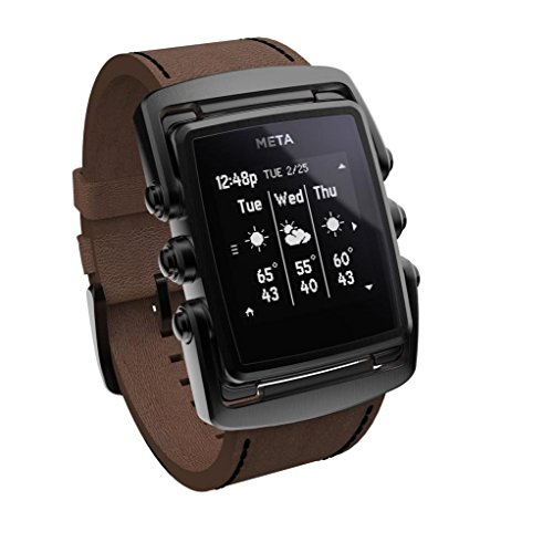 Meta Watch M1 Luxury Smart Watch for iPhone 4S and Above and Andriod 4.3 and Above Matte Black Steel Face Brown Leather Strap - Limited Edition Matte Black Face Brown Leather Strap