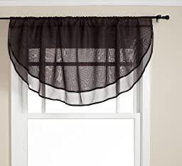 Stylemaster Elegance 60 by 24-Inch Sheer Voile Ascot Valance, Onyx