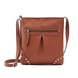 Hoxis Studded Zippered Faux Leather Crossbody Womens Shoulder Bag (Brown)
