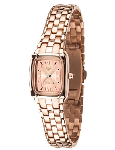 Yves Camani Women's Carat 23 Quartz Watch with Rose Gold Dial Analogue Display and Rose Gold Stainless Steel Plated Bracelet 452-LRG