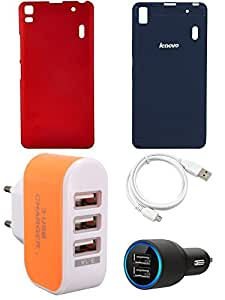 NIROSHA Cover Case Car Charger USB Cable Charger for Lenovo K3 Note - Combo