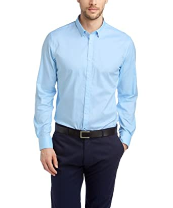 ESPRIT Collection Herren Slim Fit Businesshemd 024EO2F008 Baumwollhemd mit leichter Struktur, Gr. X-Large (Herstellergröße: 4344), Blau (BUSINESS BLUE)