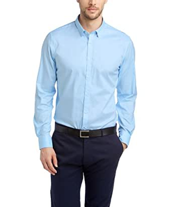Esprit Collection - Chemise Business - Col Chemise Classique - Manches Longues Homme - Bleu - Blau (Business Blue) - FR : X - Small (Taille Fabricant : 35/36) (Brand size: Herstellergröße: 3536)