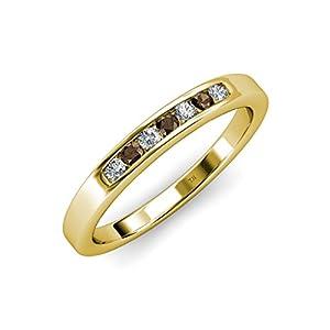 Smoky Quartz and Diamond (SI2-I1, G-H) 7 Stone Wedding Band 0.35 ct tw in 14K Yellow Gold.size 9