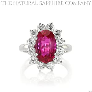 3.60ct Natural Untreated Burmese Ruby Platinum Ring with 1.44cts of Round Brilliant Diamonds (J3271)