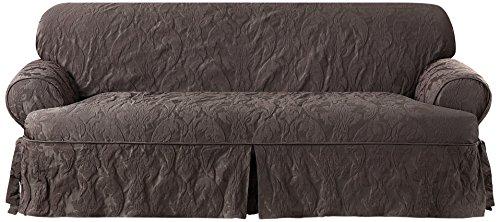 Sure Fit Matelasse Cushion Sofa Slipcover, Espresso front-930025