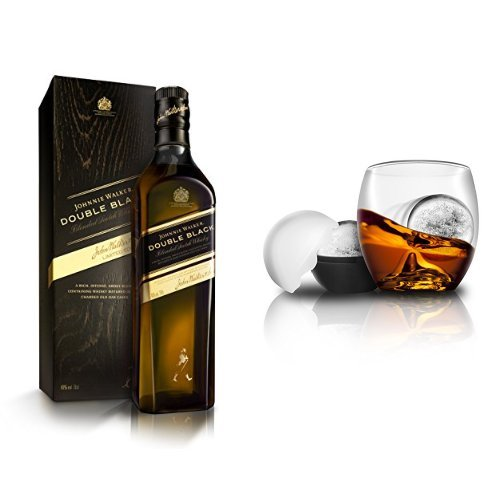 discount duty free Bundle: Johnnie Walker Double Black Label Blended Scotch Whisky 70cl and On the Rocks Tumbler & Ice Ball Mould