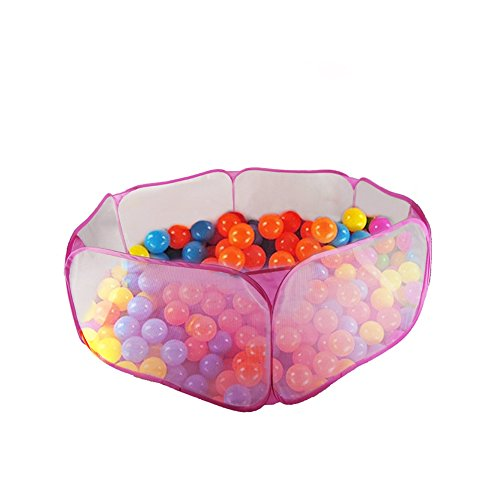 Kakato Hexagon Playpen w/ Mesh & Carry Tote (Balls NOT Included) for Children Baby Infant Kid Child Pink