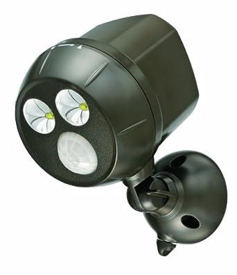 Mr Beams MB390 300-Lumen Weatherproof Wireless Battery Powered LED Ultra Bright Spotlight with Motion Sensor, Dark Brown