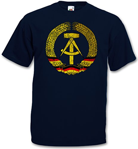 DDR SYMBOL T-SHIRT - Flag Wappen Socialismo Comunismo Hammer Circle East Germany Logo T-Shirt Taglie S - 5XL