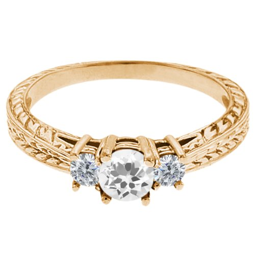 0.57 Ct Round White Topaz G/H Diamond 14K Yellow Gold 3-Stone Ring