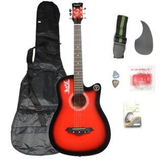 Moppi DK – 38C Basswood Gitarre rot mit Tasche Riemen nimmt LCD Tuner Pickguard String günstig bestellen