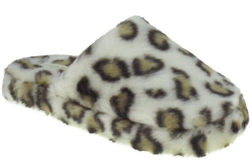 Cheap Capelli New York Printed Leopard Faux Fur Scuff Ladies Indoor Slipper Ivory Combo Large (B00937NV02)