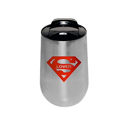 SUPER MUGS TM Super Lover Double Wall Insulated Stainless Steel Stemless Wine Glass Travel Mug, Spill Prevention Slide Lock Suction Lid, Silver and Red, 14 oz. (Valentine Beer Mug compare prices)
