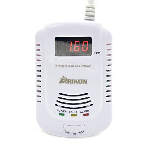 ARIKON Plug-in Gas Alarm Detector with Talking Alarm, Digital Display and 9V Battery Back Up (Gas Detector compare prices)