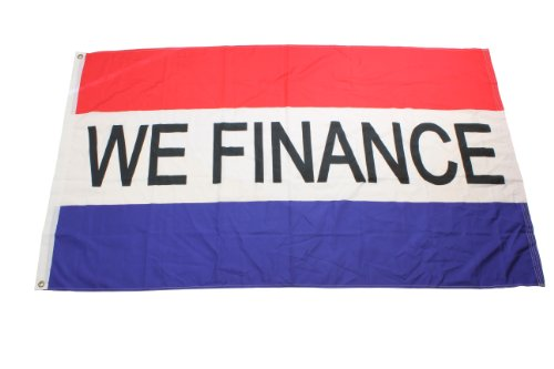 """Displays2Go """"We Finance"""" Nylon Store Flag With Brass Grommets And Reinforced Hems, Red/White/Blue (Flg3X5Fin)"""