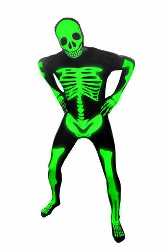 Kids Glow Skeleton Morphsuits Childs Fancy Dress Costume Small 3