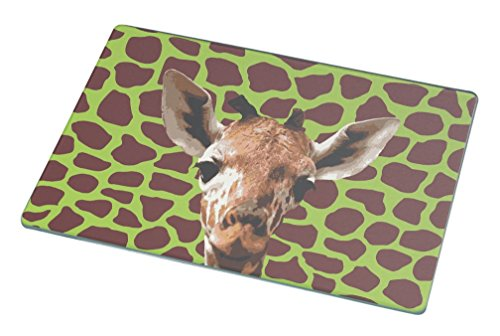 Rikki Knight RK-LGCB-342 Giraffe Close-Up on Lime Green Glass Cutting Board, Large, White