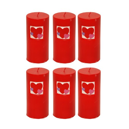 6 x Amscan Valentines Day Pillar Candle - Red