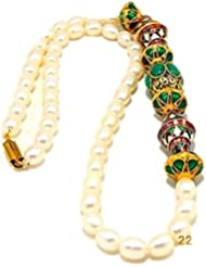 SRRK MultiColor Gold Plated Necklace With Real Pearls (Fresh Water) For Women (PRL0123)