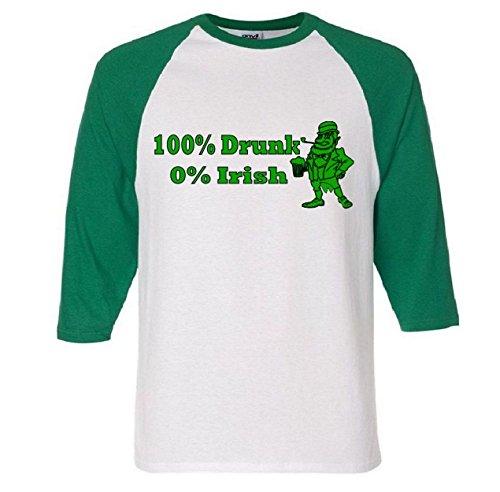 100% Drunk 0% Irish Funny Beer St. Patrick's Day Raglan Baseball T-Shirt