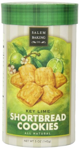 Salem Baking Company Key Lime Shortbread Cookies, 5-Ounce Tubes (Pack of 3)