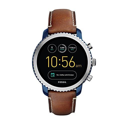 파슬 Fossil Mens Gen 3 Q Explorist Luggage Leather Smart Watch,brown