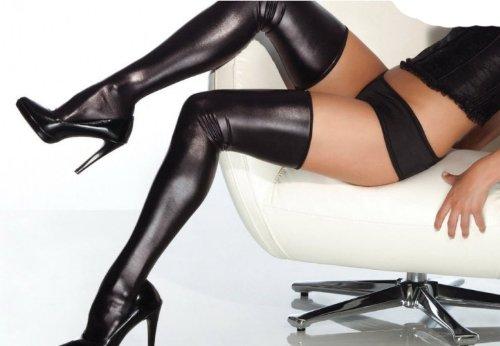 Sexy pvc black stocking, web look vinyl leg wear elasticated size (8-14)