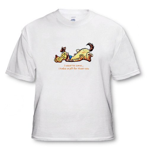 Happy Dog with Used to Care - Adult T-Shirt Large