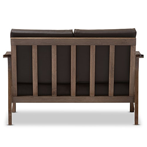 Baxton Studio Philbert Mid Century Modern Walnut Wood and Dark Brown Faux Leather 2 Seater Loveseat Sofa 4
