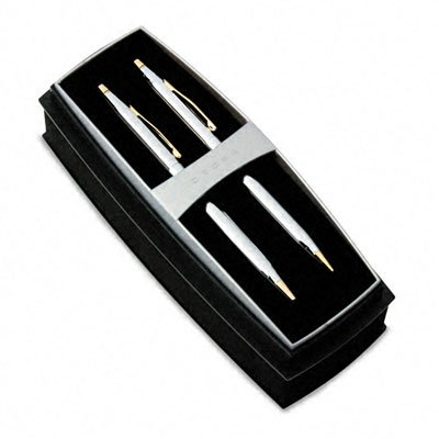 Classic Century Medalist Ballpoint Pen % Pencil Set, Chrome/23kt. Gold Plate