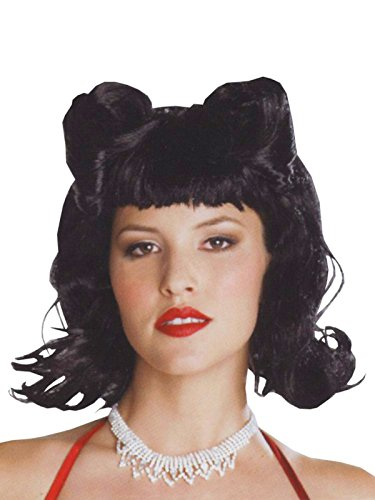 50s Style Flipper Short Black Wig with Side Pin Curls Womens Pin Up Hair